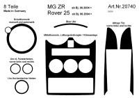 Decor interiéru MG ZR -- od roku výroby 8/2004- umístění palubní deska a dveře - 8 dílů